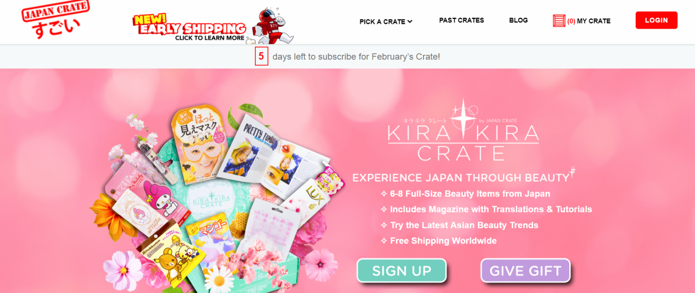 Japanese beauty product subscription: Kira Kira Crate